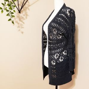 Lucky Brand | Crochet Open Front Cardigan Duster